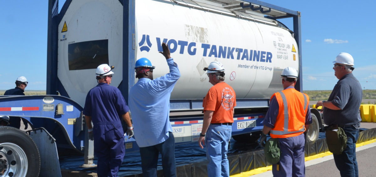 A tank of thiodiglycol, the first shipment of its kind, arrives at the Pueblo Chemical Agent-Destruction Pilot Plant in August 2015. It was diluted and stored and will be used to test the Biotreatment process.