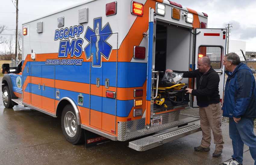 The Blue Grass Chemical Agent-Destruction Pilot Plant medical director and medical services coordinator check out a gurney in the project's new ambulance Feb. 9. A new ambulance purpose-built for the Blue Grass Chemical Agent-Destruction Pilot Plant arrived Feb. 1.