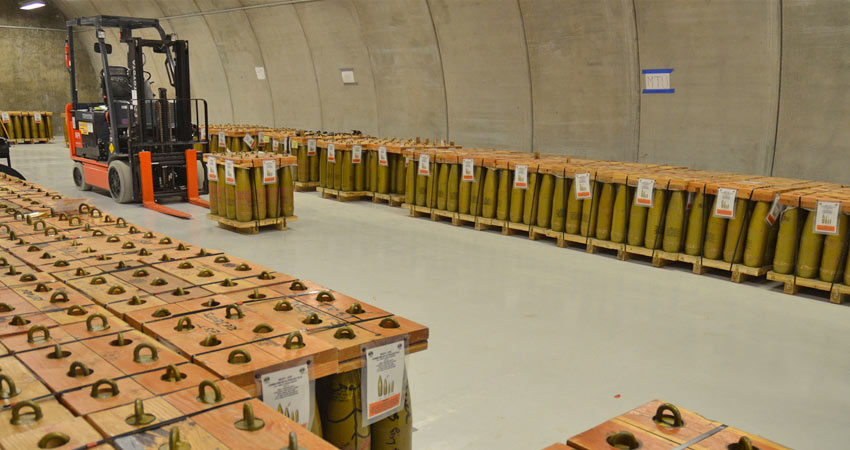 Pallets of inert training munitions, known formally as Assembled Chemical Weapons Alternatives Test Equipment or ATE.