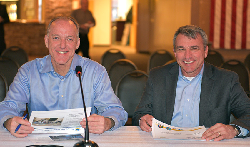 Then Bechtel Pueblo Team Project Manager Brett Griebenow, left, appears at a Colorado Chemical Demilitarization Citizens' Advisory Commission public meeting Feb. 27, 2019, with Ken Harrawood, right. Harrawood replaced Griebenow as PM at the Pueblo Chemical Agent-Destruction Pilot Plant in late March.