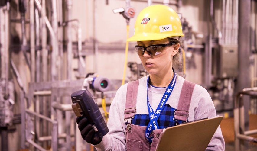 An industrial hygienist tests air within the Blue Grass Chemical Agent-Destruction Pilot Plant as nitrogen is introduced to plant systems in January.