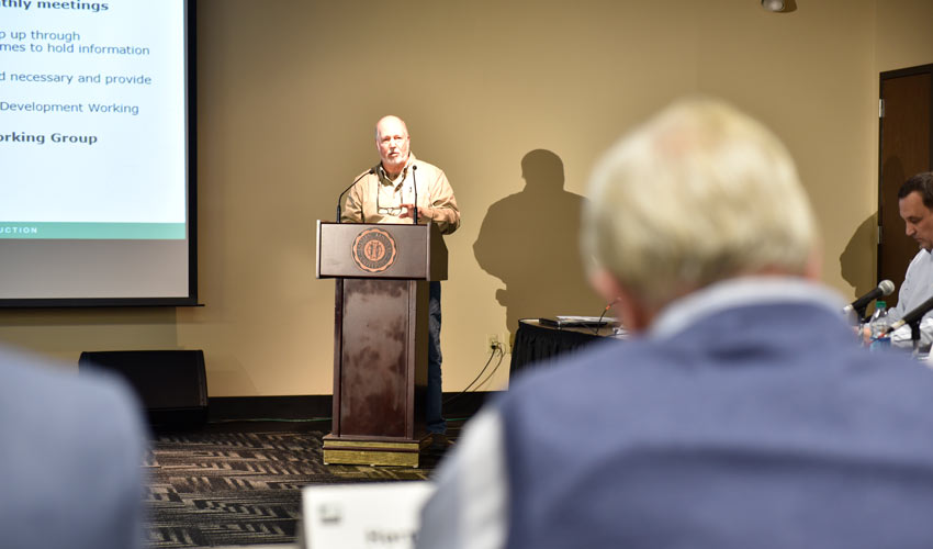 Craig Williams, co-chair, Chemical Destruction Community Advisory Board, provides information on assisting with developing a Plan B for hydrolysate processing at the Blue Grass Chemical Agent-Destruction Pilot Plant at a public meeting March 14.