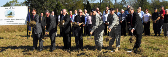 The groundbreaking ceremony takes place at Blue Grass Army Depot at the future site of the Blue Grass Chemical Agent-Destruction Pilot Plant.