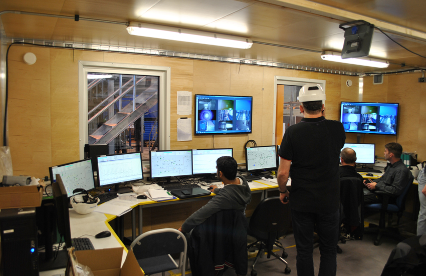 Control Room operators monitor the factory-acceptance testing of the Static Detonation Chamber unit at the Dynasafe workshop in Kristinehamn, Sweden.