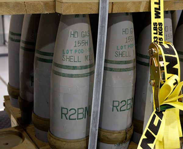 A pallet of 155mm projectiles awaits destruction at the Pueblo Chemical Agent-Destruction Pilot Plant.