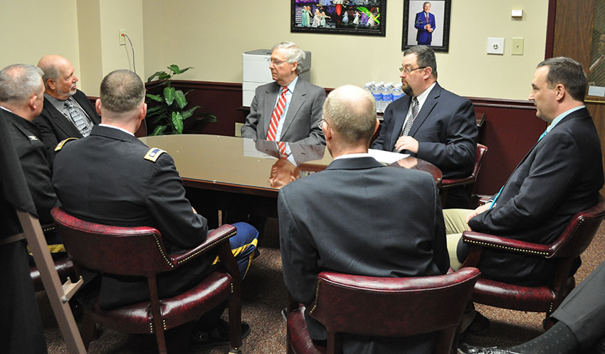 U.S. Senate Majority Leader Mitch McConnell, center, meets with leadership of the Blue Grass Army Depot and Craig Williams, Chemical Destruction Community Advisory Board co-chair, March 23 at Eastern Kentucky University to receive updates about depot missions.
