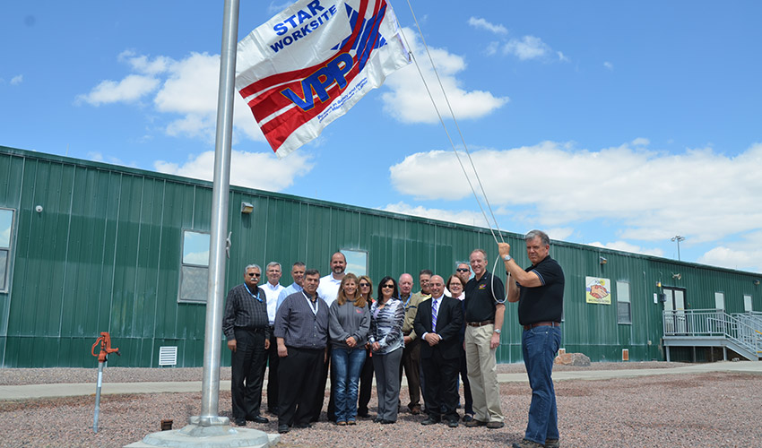 A flag raising ceremony on April 28, 2015 signified the Pueblo Chemical Agent-Destruction Pilot Plant award in the Occupational Safety and Health Administration's Voluntary Protection Program for systemization. The plant received official approval for continued participation in the program for operations in December 2018.