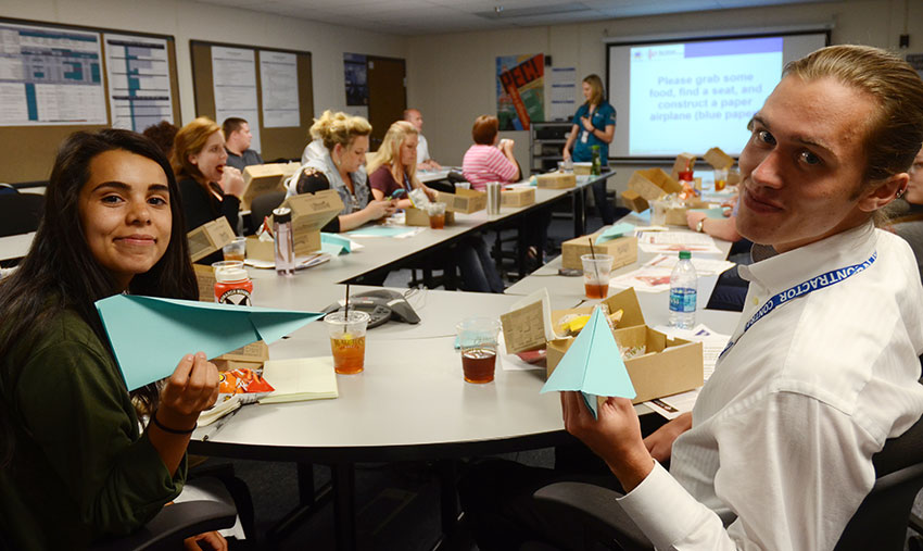 Pueblo Chemical Agent-Destruction Pilot Plant summer interns use paper airplanes to practice data collection, plot a data distribution and identify how to improve performance using collaborating strategies.