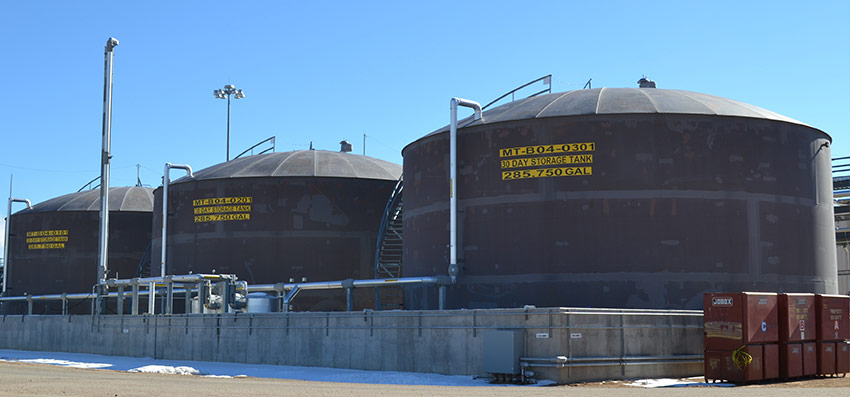 Three 30-day storage tanks hold hydrolysate until enough is accumulated for transfer to Immobilized Cell Bioreactors, where it is further broken down.