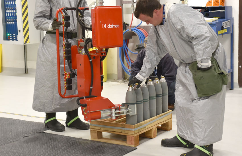 During Baseline Reconfiguration activities, ordnance technicians wear bright green, high visibility heel grounds over rubber boots to dissipate any static buildup.
