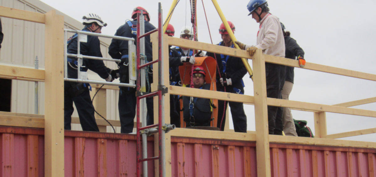 A modified intermodal shipping and storage container is used for confined space training at the Pueblo plant.