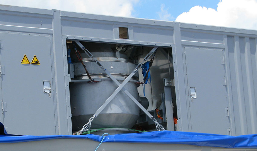 A Static Detonation Chamber vessel as it was being assembled at the Anniston Chemical Agent Disposal Facility, Alabama, in July 2011.