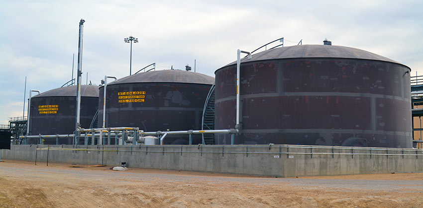 Three 30-day Hydrolysate Storage Tanks store wastewater before it is transferred to the plant's Biotreatment Area to be further broken down.