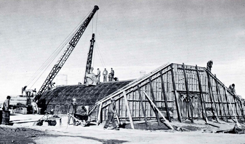 In 1941, U.S. Army Pueblo Chemical Depot igloos were built using wooden forms, with rebar stretched over 2 x 2-foot steel pans to capture the placed concrete.
