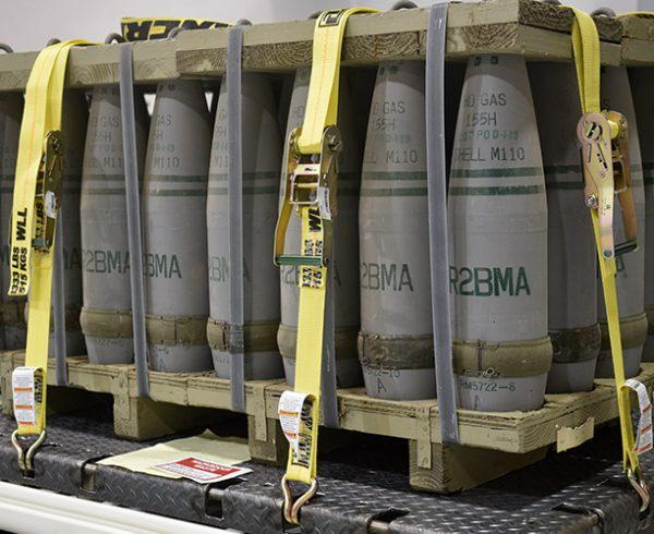 A pallet of mustard-filled 155mm projectiles awaits destruction in the Pueblo Chemical Agent-Destruction Pilot Plant's Enhanced Reconfiguration Building.