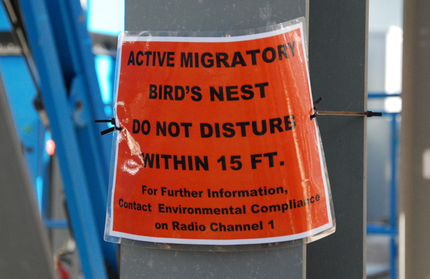 Active nests at the Pueblo Chemical Agent-Destruction Pilot Plant are barricaded and signs are posted to protect migratory birds.