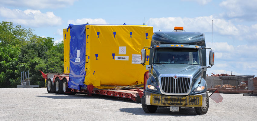 Components of the Static Detonation Chamber (SDC) arrive at the Blue Grass Chemical Agent-Destruction Pilot Plant on Aug. 13, 2015. The SDC is the Explosive Destruction Technology selected to augment the main plant by destroying the mustard projectiles.
