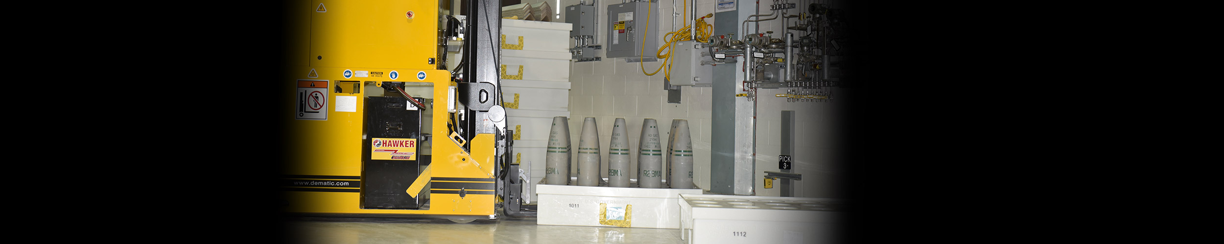 A Pueblo Chemical Agent-Destruction Pilot Plant Automated Guided Vehicle is used to transport munitions from the Enhanced Reconfiguration Building to the Agent Processing Building. The weight and turning radius of the AGVs has caused wearing of the epoxy coating in high traffic areas of the ERB, AGV Corridor and Munitions Body Storage Building.