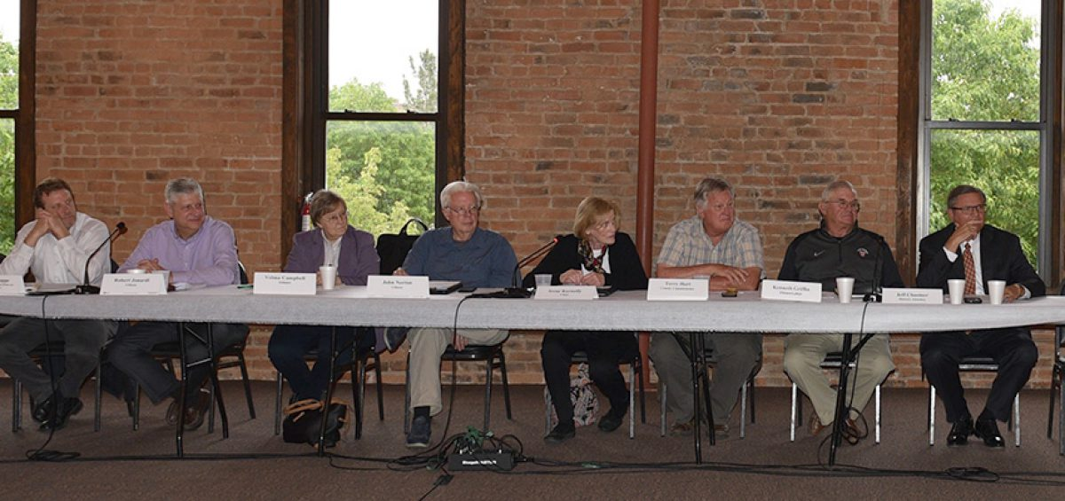 Members of the Colorado Chemical Demilitarization Citizens' Advisory Commission (from left): Doug Knappe, Bob Jonardi, Velma Campbell, John Norton, Irene Kornelly, Terry Hart, Ken Griffin and Jeff Chostner.