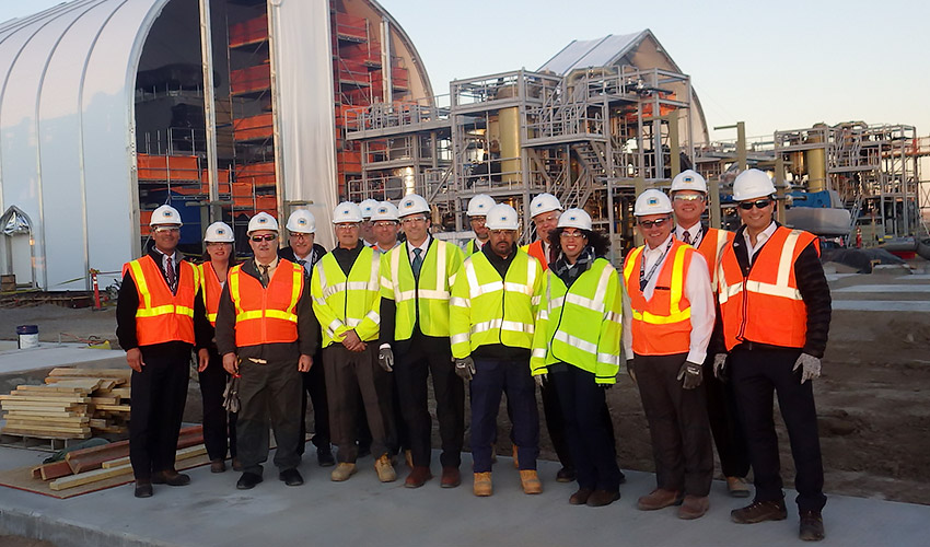 Department of Defense and U.S. Army officials and Bechtel and AECOM executives tour the Static Detonation Chamber site at the Pueblo Chemical Agent-Destruction Pilot Plant on Jan. 15, 2020, as part of the Integrated Process Review.