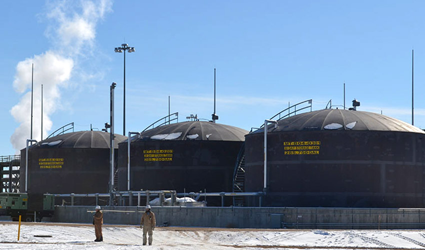 Three 30-day hydrolysate storage tanks at the Pueblo Chemical Agent-Destruction Pilot Plant contain caustic wastewater that is the product of chemical neutralization of mustard agent. Hydrolysate will be shipped off site to meet Centers for Disease Control and Prevention recommendations during the COVID-19 pandemic.