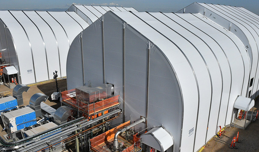 Sprung structures, the tension fabric coverings that will protect the Pueblo Chemical Agent-Destruction Pilot Plant's three Static Detonation Chamber units, are now complete.