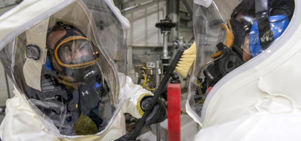 Pueblo Chemical Agent-Destruction Pilot Plant workers don Demilitarization Protective Ensemble suits for protection from possible exposure to toxic chemical agent. More than 5,000 DPE-suited entries at the plant have been accomplished safely.