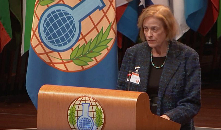 Irene Kornelly, Colorado Chemical Demilitarization Citizens' Advisory Commission chairwoman, delivers remarks at the 24th session of the Conference of States Parties to the Chemical Weapons Convention at the World Forum, The Hague, the Netherlands, in November 2019. (Image from YouTube courtesy OPCW)
