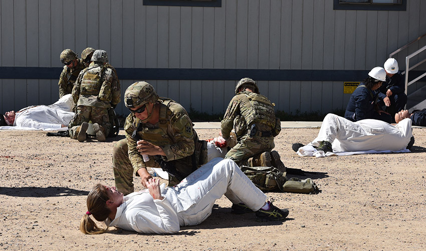 First responders treat victims of a simulated explosion during a training exercise. The PCAPP Emergency Response Team, the PCAPP medical team, the Pueblo Chemical Depot and Soldiers from the U.S. Army 4th Infantry Division of Fort Carson participated in the event.