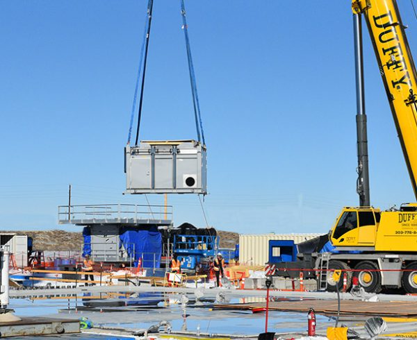 Static Detonation Chamber components are placed on their concrete pad at the Pueblo Chemical Agent-Destruction Pilot Plant in Colorado. Three SDC units will be assembled to aid the main plant in its mission to destroy the chemical weapons stockpile at the U.S. Army Pueblo Chemical Depot.