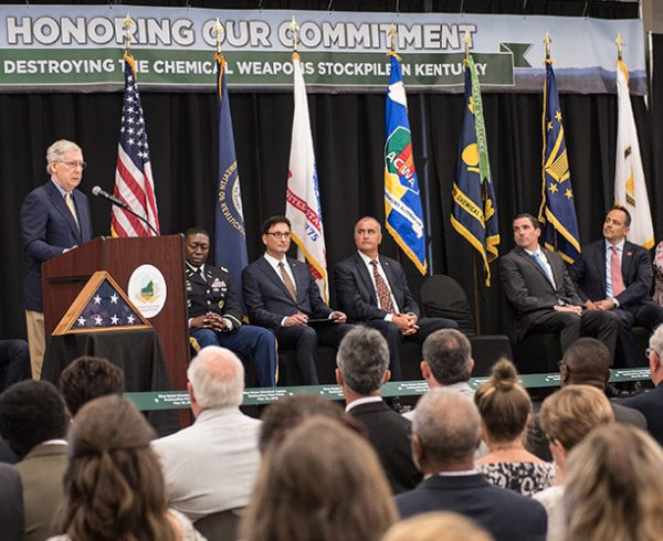 Senate Majority Leader Mitch McConnell speaks at an event May 29 to mark the start of chemical munitions destruction in Kentucky. The Blue Grass Chemical Agent-Destruction Pilot Plant is scheduled to begin destruction of mustard-agent projectiles in the Static Detonation Chamber within the next several weeks.