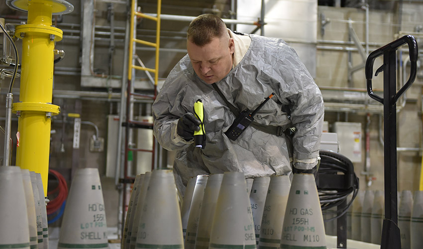 A Pueblo Chemical Agent-Destruction Pilot Plant worker inspects 155mm projectiles Nov. 13, 2018, in the Agent Processing Building. With more than 660 U.S. tons of mustard agent destroyed, PCAPP has eliminated 25% of the chemical munitions stockpile that has been stored at the Pueblo Chemical Depot since the 1950s.