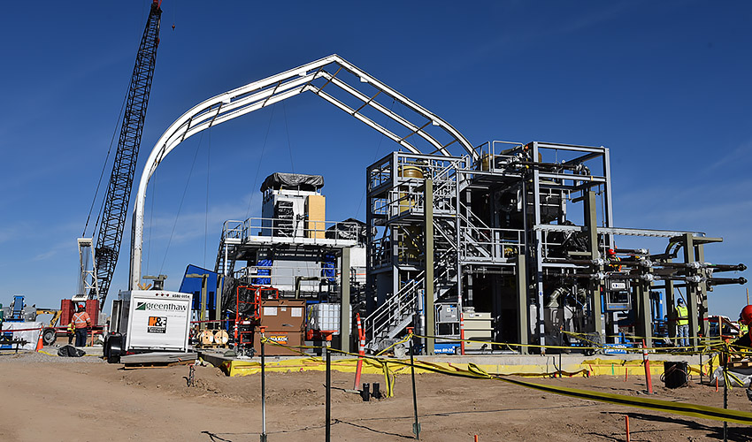 Workers erect a frame Dec. 10, 2019, for the Sprung structure that will cover a Static Detonation Chamber at the Pueblo Chemical Agent-Destruction Pilot Plant. Three SDC units will augment main plant operations by destroying munitions that are not suitable for automated processing.