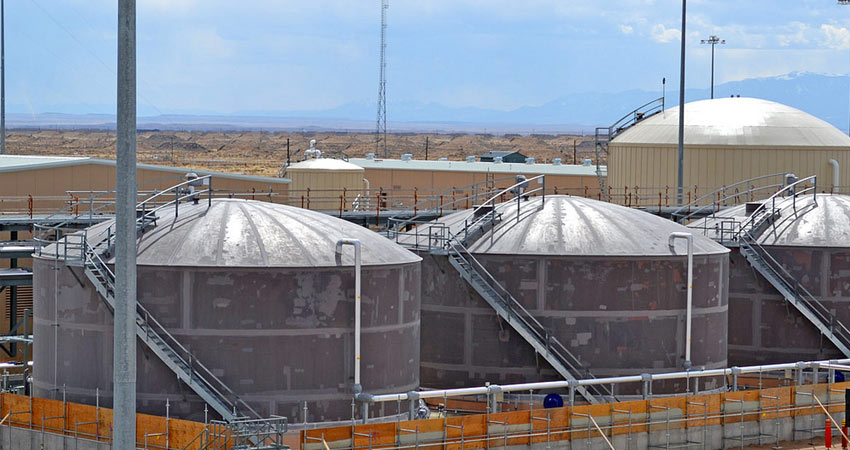 Hydrolysate, the product of agent neutralization, is stored in these tanks prior to processing in the Biotreatment Area at Pueblo Chemical Agent-Destruction Pilot Plant.